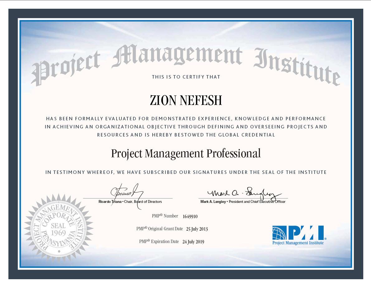Zion Nefesh Pmp Certificate